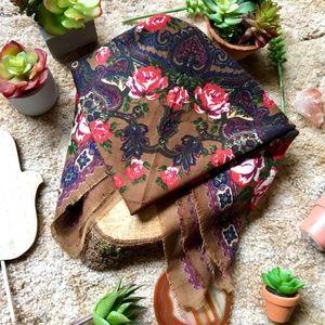 {Vintage} Dark Floral Print Brown Square Scarf